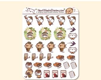 27 Stickers (Mini) Cute Birdwatching Planner Stickers - Birding Bird Stickers, Spring Activity - Kawaii Cat Pug - NextWeeksDream SMS16
