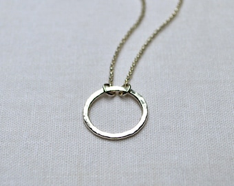 Sterling Silver Circle Necklace, Eternity Necklace, Simple Circle Pendant, O Necklace, Argentium Sterling, Hammered Circle, Karma, Small