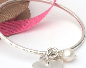 Chunky Sterling Silver Bangle with Silver Heart and Freshwater Pearl, Hammered Finish