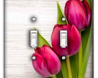 Pink Tulips Light Switch Cover - Double Toggle Decorative Switch Plate Cover