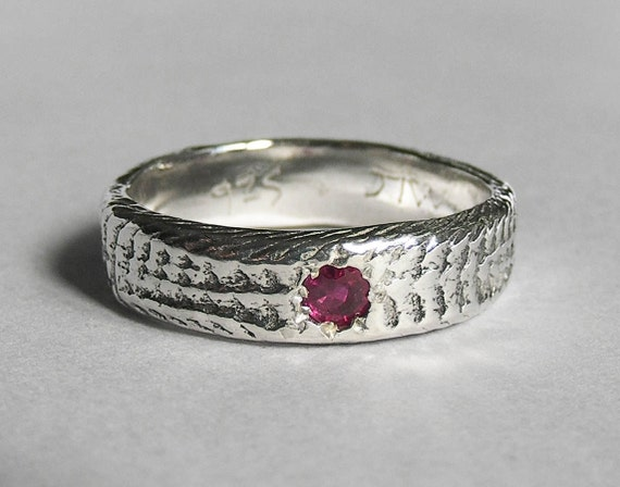 Snakeskin Ring with Natural Ruby