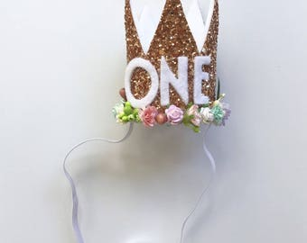First Birthday Crown | Floral 1st Birthday Girl Outfit | Rose Gold Girl First Birthday Outfit | 1st Birthday Hat | Rose Gold Cown