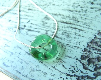 beach wedding gift Green ocean Necklace, Necklace green Glass, Bridesmaid gift idea, ocean jewelry, glass beads necklace birthday gift