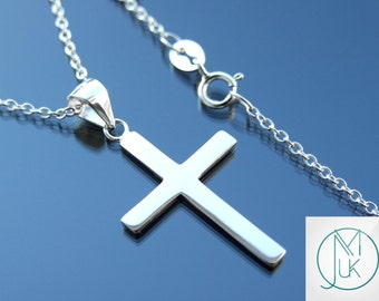 Solid 925 Sterling Silver Beautiful Cross Pendant Necklace Cable Chain FREE UK SHIPPING