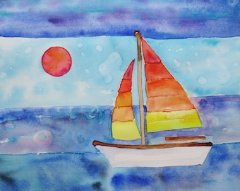Original sailboat watercolor painting, Original watercolor