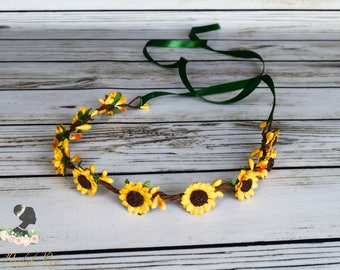 Handcrafted Classic Yellow Sunflower Crown - Yellow Sunflower Wedding - Flower Girl Crown - Adult Sunflower Crown - Sunflower Headband - Bow