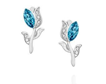 Tulip Earrings - Swarovski Blue Aquamarine Stone
