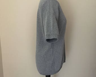 vintage grey oversized jumper with short sleeves WOMENS 14-16