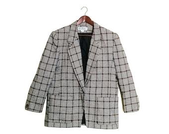 Vintage Women's Plaid Boyfriend Blazer // Vintage Woven Plaid Ladies Jacket // Vintage Women's Suiting Jacket Blazer