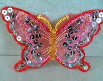 set of 2 sconces Butterfly lace and sequins 10 x 7.5 cm