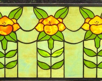 """Chorus Line Lily Poppy Art Nouveau Craftsman Style Stained Glass Panel, window  37"""" x 13"""""""
