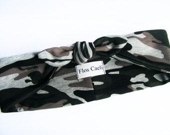 Gray Military Headband - Army Headband - Women Headband - Jersey Headband - Stretchy Adjustable Headbands