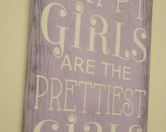 Happy Girls Are The Prettiest Gift Audrey Hepburn Quote Distressed Wood Sign Vintage Bathroom Decor Lavender Nursery Girls Bedroom