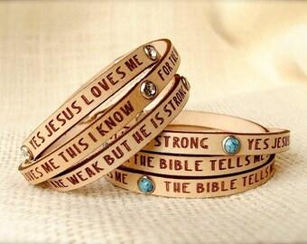 Jesus Loves Me... Daily Reminder Leather wrap bracelet