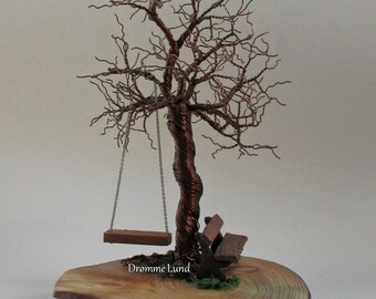 Park In Autumn ~~ Tree Wire Sculpture With Bench And Swing ~~ Tree Of Life