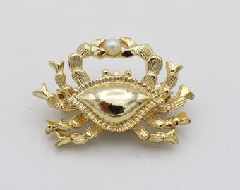 Golden Crab Brooch with Pearl Accent
