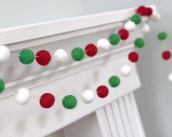 Christmas Garland Felt Ball Garland- Christmas Holiday Decor in Red, Green & White