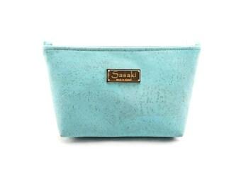 """9"""" x 5"""" - Soft Blue Cork Gadget Bag - zipper pouch - Bag organizer"""