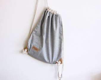 Chambray Denim Drawstring Backpack - Rucksack - Day Bag - Summer Bag