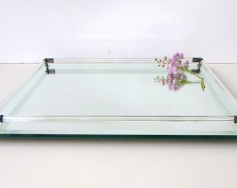Mid Century Extra Large Lucite Mirror and Metal Vanity Tray - Serving Tray - Barware - Mirror Tray - Vintage Vanity Tray - Trinket Tray