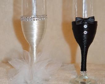 Wedding Champagne Flutes Custom Glam Personalized Bling Fancy Toasting Flutes