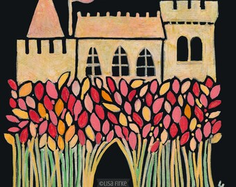Red Barley Castle, fine giclée reproduction of original painting by Lisa Firke