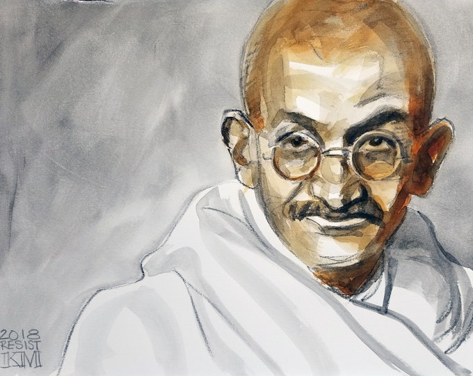Mahatma Gandhi, 11 x14 inches, watercolor and crayon on cotton paper by Kenney Mencher