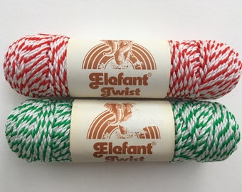 Vintage Elephant Twist Macrame Cord / Bakers Twine / Red and White / Green and White / Olefin Cord
