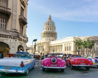 Cuba Photography, Old classic American Cars, National Capitol Building, Havana Photos, Car Photography, Fine Art Photography, Cuba Print Art