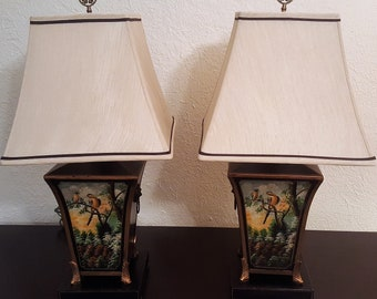 One Pair Asian Motif Table Lamps With Shades