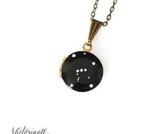 Orion Constellation Necklace, Tiny Vintage Locket, Hand Painted, Brass, Constellation Jewelry, Small Locket, Orion Locket