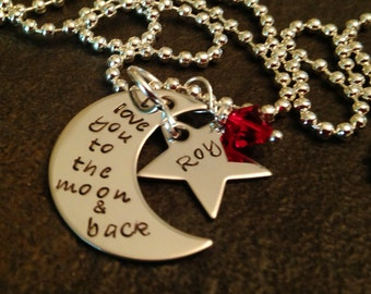 I love you to the moon and back necklace with personalized star and birthstone