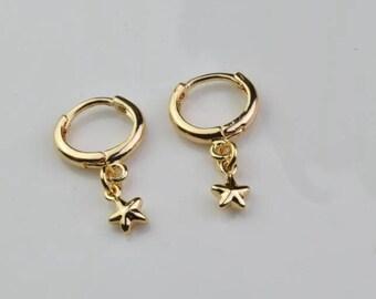gold hoop earring tiny star hoops endless hoop huggie dangle earring simple earrings everyday/gift for her