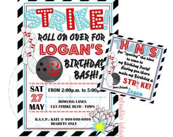 Bowling Party Printable Invitation with FREE Thank you Tag-DIY Digital File-Strike Birthday Invitation -You Print