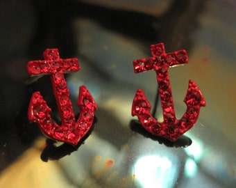 Red Anchor Earrings - Stud Earrings - Rhinestone Anchor Earrings - Beach Earrings - Beach Wedding - Nautical Jewelry