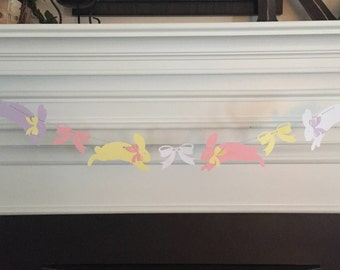 Pastel Bunnies & Bows Banner Garland for Easter or Baby