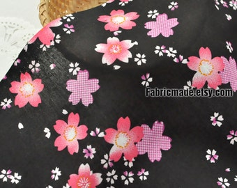 Pink Cherry Blossom Flower Cotton Fabric, Sakura Floral On White Black Cotton- 1/2 Yard