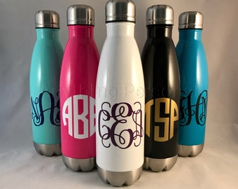 Personalized Stainless Steel Bottle, Monogrammed Stainless Steel Water Bottle, Monogram Cup, Monogram Gift, Beach Cup, Monogram Tumbler