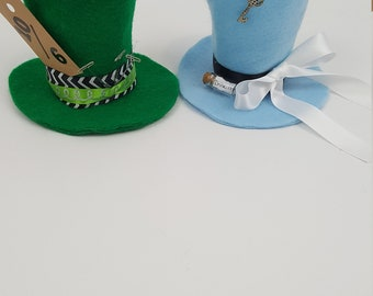Alice and Hatter Tiny Top Hat Set, Alice in Wonderland Costume, Halloween Costume, Alice Party Favor, Alice in Wonderland, Mad Hatter Hat