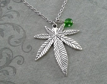 Pot Leaf Necklace LARGE Marijuana Leaf Necklace Weed Gift Hemp Leaf Pendant, Weed Necklace Pot Necklace Pot Jewelry Green Gem Necklace 420