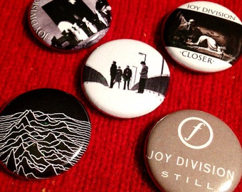"5 Joy Division 1"" Buttons - FREE Shipping - Ian Curtis Post-Punk, Postpunk, New Order, The Cure, Siouxsie Sioux, New Wave Goth Alternative"