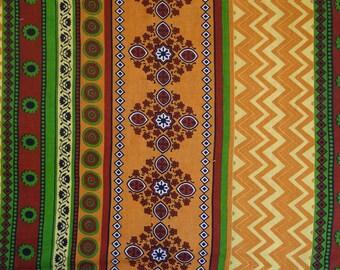 fabric, cotton, ethnic green and ochre