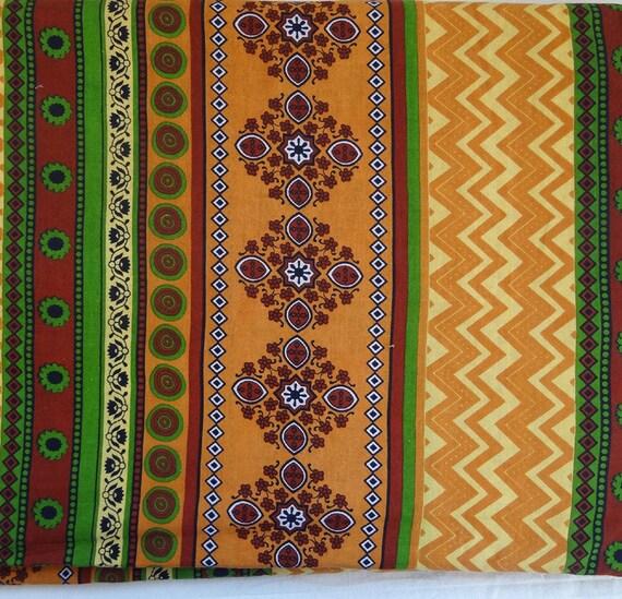 tissu au m tre coton imprim multicolore motifs ethniques. Black Bedroom Furniture Sets. Home Design Ideas