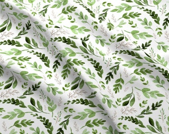 Summer Botanical Branches Fabric - Leaves By Hudsondesigncompany - Summer Green Watercolor Leaves Cotton Fabric By The Yard With Spoonflower