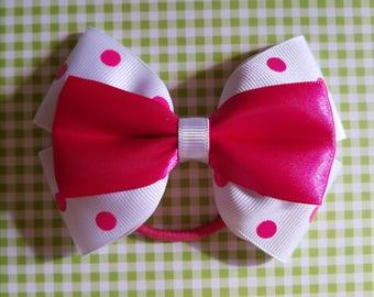 Hot pink and white polka dot