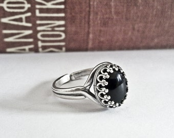 Black Onyx Ring Black Stone Ring Onyx Jewelry Black Gemstone Ring Sterling Silver Ring Gothic Jewelry Black Engagement Ring Filigree Ring
