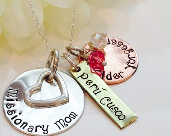 Personalized  Missionary Mom Necklace-Missionary Mom Necklace- Sterling Silver Missionary Necklace-Mission Calling-LDS