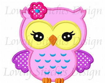 Girl Owl Applique Machine Embroidery Design NO:0622