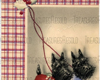 Retro Terrier Black Scottie Dog Christmas Card #296 Digital Download