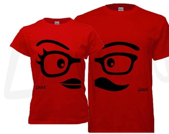 Couple Tshirt - his and hers, Red Nerd/Mustache/Lips theme. Unique gifts for Valentine's, Anniversary, Wedding, Newly weds, Honey Moon, Bday